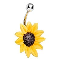 Stunning Sunflower Belly Button Ring 14G