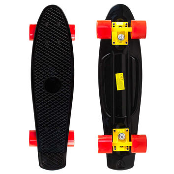 Black Penny Style Cruiser Board 22 inch Plastic Skateboard Complete