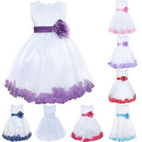 Fashion Fancy Kids Girls Flower Formal Wedding Pageant Tulle Petals Dress = 1933161220