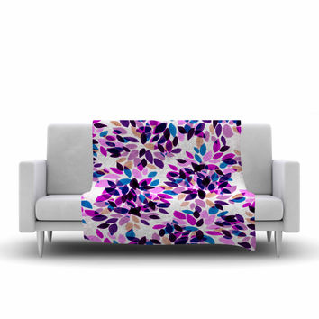 "Ebi Emporium ""Dahlia Dots 3"" Pink Purple Fleece Throw Blanket"