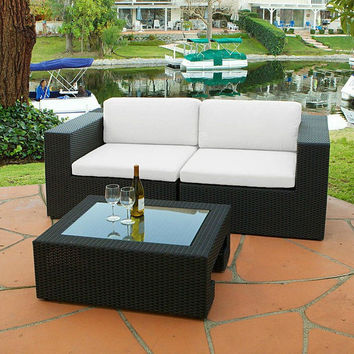 2017 3 Piece Outdoor Wicker Furniture Sofa Loveseat and Table Set