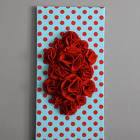 "Red and Aqua 3D Wall Art, Red and Aqua Polka Dots, 12x24"" Red and Aqua Canvas, Nursery Art, Baby Girl, Baby Boy, Wall Decor"