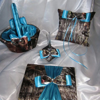 Camo and Teal Satin Wedding Set - ENTIRE SET