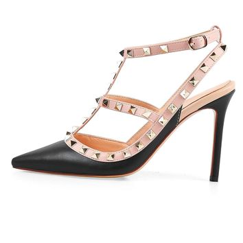 Chris T Pointed Toe Studded Strappy Slingback High Heel Leather Pumps Stilettos Sandals