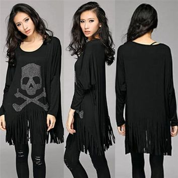 Skull Skulls Halloween Fall Punk Rock loose tassel tops batwing long sleeve  heads print women T shirt fashion Europe Fashion casual style  Hot Sale Calavera