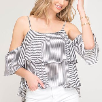 Women's Striped Cold Shoulder Top with Ruffled Layer