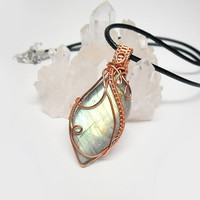 OOAK Wire wrapped Labradorite, green fire stone, intricate wire wrap, copper wire wrap, black leather necklace, unique necklace for women