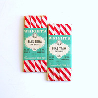 Vintage Bias Trim Wrights Red White Candy Cane Striped Turquoise Label Instant Collection Vintage Sewing Supplies