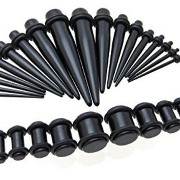 Black Acrylic Ear Gauge Taper and Plug Starter Stretching Kit - 36 Piece Set