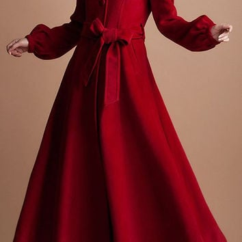 red riding hood/women clothing/long coat/high collar/belt/fit/custom made/wool/autumn/winter