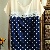 Cute Dot Blouse with Lace Insert