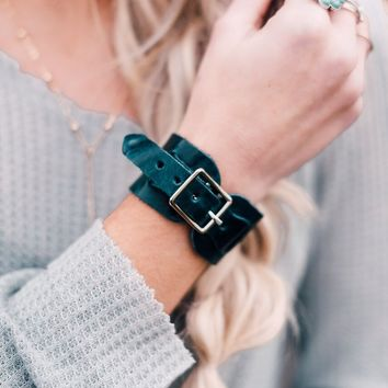Single Buckle Wrap Leather Cuff - Teal