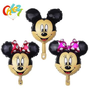 10 pcs Mickey Minnie Mouse Head Balloon Baby Shower Birthday Party Decorations Cartoon Foil Balloons Wedding Party Supplies