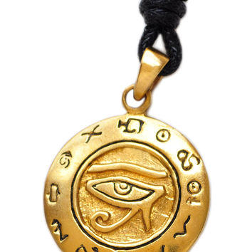 Egyptian Eye Of Horus Ra Handmade Brass Necklace Pendant Jewelry