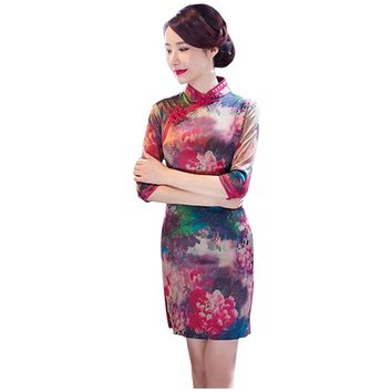Partiss Womens Vintage Floral Knee-length Cheongsam Qipao Dress