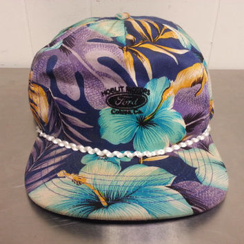 Vintage Hawaiian Print Ford Fresh Prince Of Bel Air Snapback Hat Dad Hat Hoblit Motors California 1990's 1980's