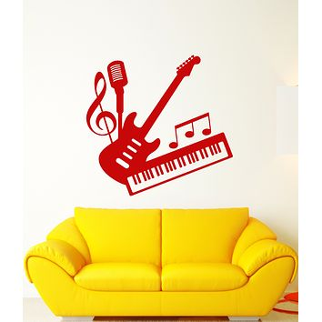 Vinyl Wall Decal Musical Instruments Store School Of Music Stickers (3160ig)