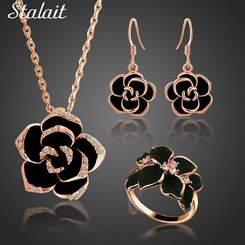 Classic Black Rose Flower Necklace Earrings Rings With Rhinestones Lucite Drop the Oil Austrian Crystal Flower Jewelry Sets