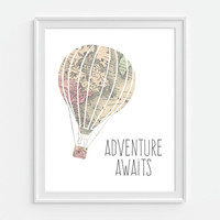 Adventure Awaits Art Print, Map Hot Air Balloon, Nursery Quote, Nursery Wall Art, Childrens Room Decor, Travel Art, Travel Gift