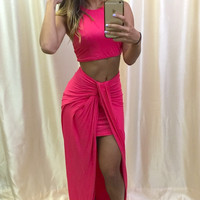 Lipstick Knotty Two-Piece Dress