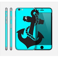 The Black Nautical Anchor on Turquoise Skin for the Apple iPhone 6