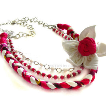 Medium Necklace in Pink Fabric Braid with Flower Brooch - NOTON by Raquel, Etsy