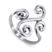 Sterling Silver Swirl Design 2mm Wide Band Polished Finish Ring Size 5, 6, 7, 8, 9