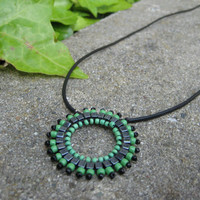 Hipster Green and Black Pendant Necklace