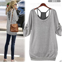 2 Pcs Black Vest and Grey T-Shirt Tops for Women