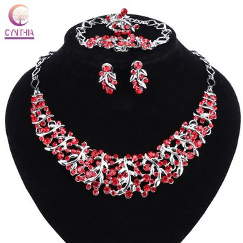 Hot Sale Luxury High Quality Rhinestones Necklace Earrings Sets Crystal Bridal Wedding Jewelry Sets For Bridal
