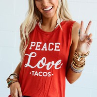 Peace Love and Tacos Graphic Tank