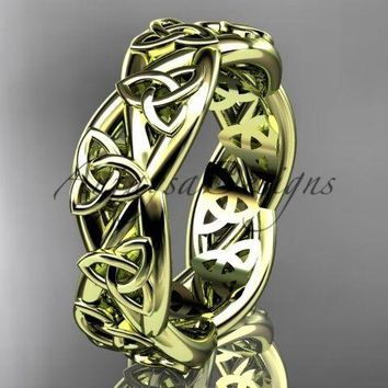 14kt yellow gold celtic trinity knot wedding band, triquetra ring, CT7392G
