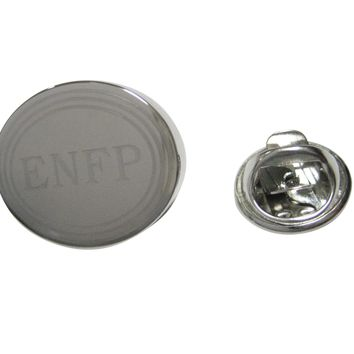 Silver Toned Etched Oval Myers Briggs ENFP Lapel Pin