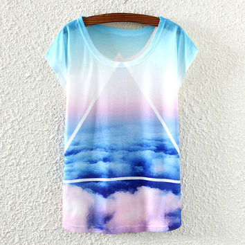 White Short Sleeve Blue Sky White&Clound Print T-Shirt