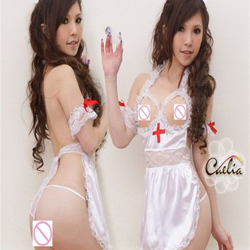 Brand ISME Women Sexy Half Slip Female Nurse Intimate Sexy Nightgown Rompers