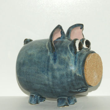 Bobbie - Blue Jeans Piggy Bank - Hand Thrown Stoneware Pottery