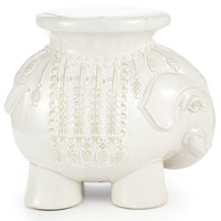 Ceramic Elephant Stool, White