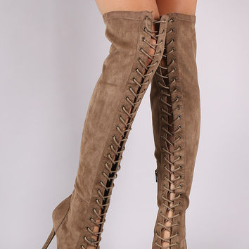 Wild Diva Lounge Suede Peep Toe Lace Up Stiletto Boots