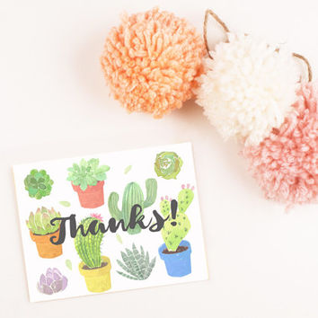 Hand Painted Succulent Cactus Blank Thank you card template digital printable instant download file fun Leaf greeting card