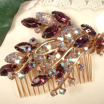 Vintage Purple Plum Lilac Lavender Molded Glass Rhinestone Gold Bridal Hair Comb, Vintage Keepsake Purple Spray Brooch to OOAK Headpiece