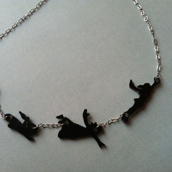 Peter Pan and Darlings Silhouette Necklace