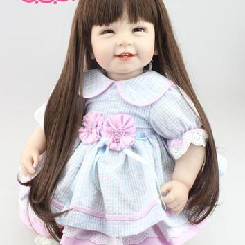 Sweet 55cm 22inch Silicone Reborn Dolls With Black Long Hair Can Make Many Hair Styles Hot Welcome Reborn Toddler Dolls For Girl