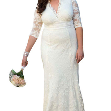 White Plus Size Lace Bridesmaid Dresses Long