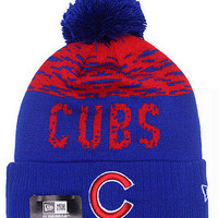 New Era Chicago Cubs Blue & Red Pom Beanie
