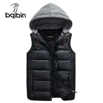 Men Hoodie Sleeveless Vest For Winter Autumn White Duck Down Male Classic College Solid Thick Warm Casual Jacket Mens Waistcoat