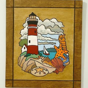 Nautical Wall Decor, Lighhouse Wood Wall Art