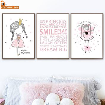 COLORFULBOY Wall Art Print Canvas Painting Princess Girl Quotes Poster Nordic Style Kids Decoration Wall Pictures Girl Room