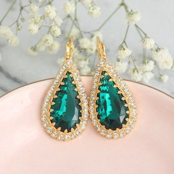 Emerald Earrings, Emerald Green Drop Earrings, Bridal Green Emerald Jewelry, Crystal Green Earrings, Bridesmaids Gifts, Emerald Jewelry