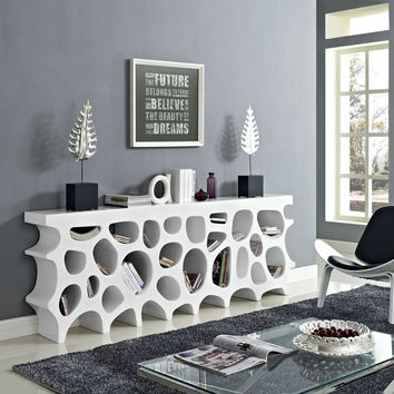 Wander Modern Fiberglass Console Table With Storage In White
