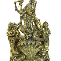 Vintage Spiritual Krishna Brass Statue Dancing On Serpent Kaliya Zen Hindu Decorative Home Interior